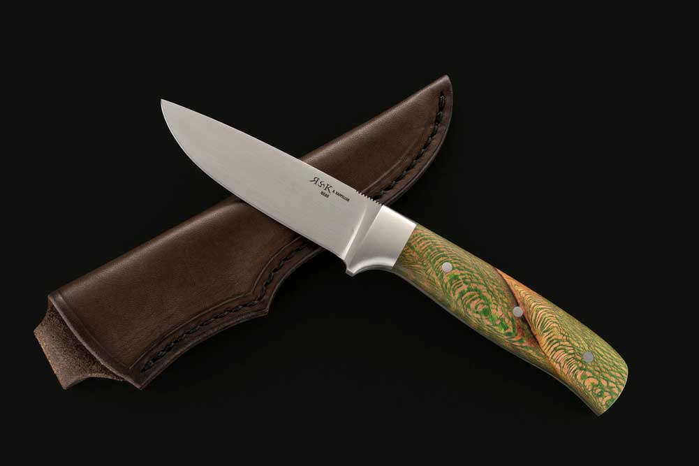 Hunting knife by Richard Kappeller with a green stabilized platan handle.