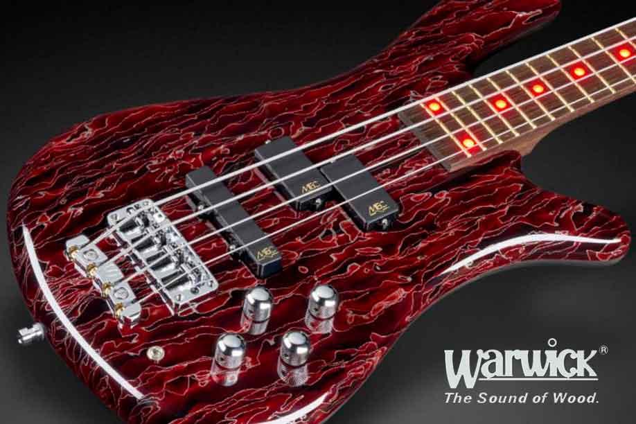 Warwick Bass Guitar with full front in blue Raffir Stripes.